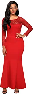Womens Lace Long Sleeve Bow Back Elegant Evening Gown Fishail Maxi Dress