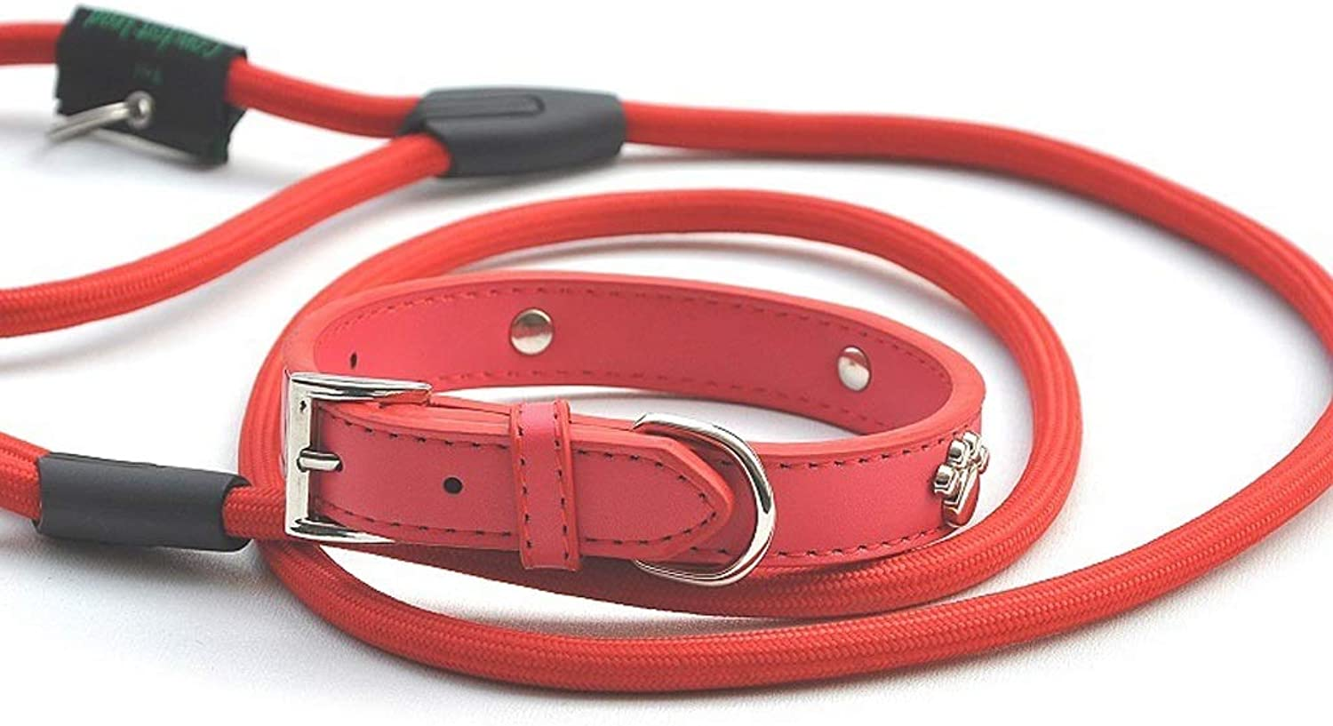 LSLMCS Pet Supplies Pet Dog Paw Print Traction Rope Traction Belt Set Leather Dog Cat Collar, Rope Length 1.25m (color   Red, Size   XL)