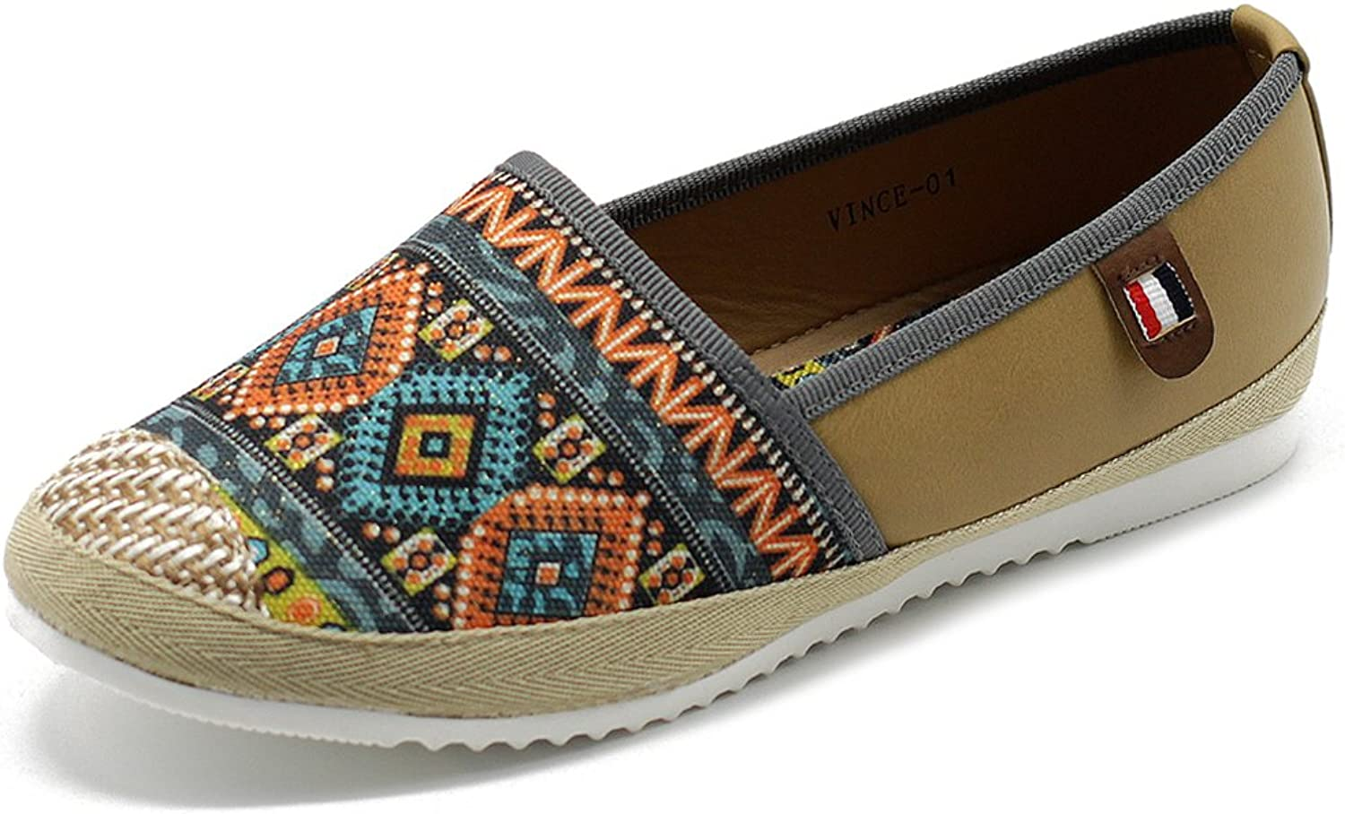 Ollio Womens shoes Slip On Ethnic Floral Tribal Sneaker Canvas Flats