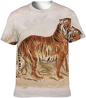 - Engraving of a Tiger UK,Fashion Crewneck T-Shirt for Men/Women/Boys/Girls Tiger S