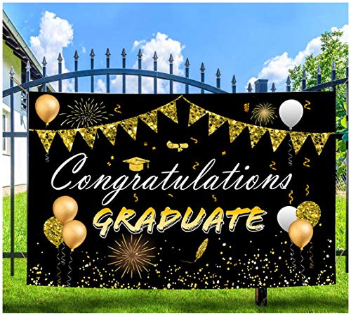 FRUOR 2021 Graduation Party Decoration Backdrop, 6'x4' / 72''x48'' Congrats Grad Large Fabric Hanging Banner, Congratulation Party Photo Prop Booth Backdrop (6ftx4ft)