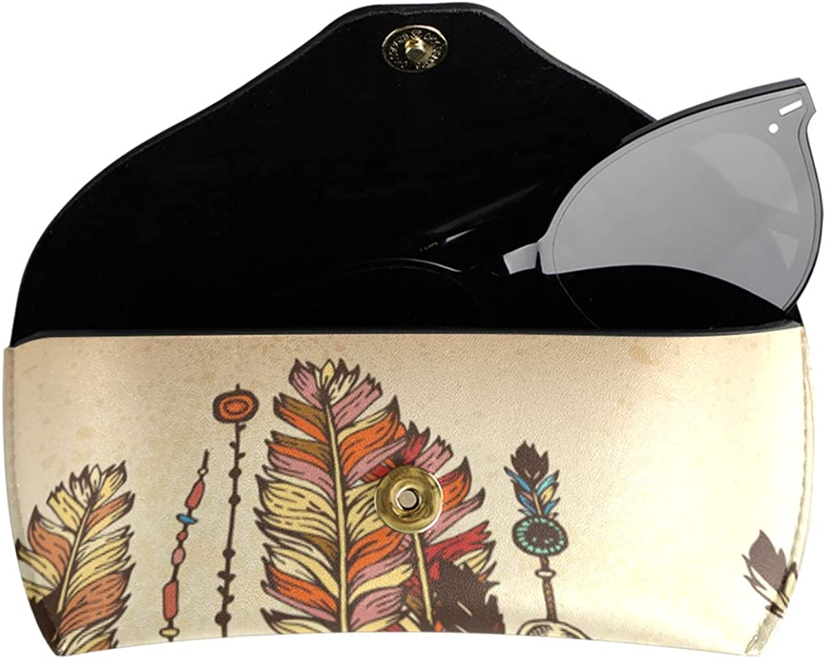 Multiuse Art Feathers Ethnic Element present Sunglasses Case Eyeglasses Pouch Goggles Bag Portable PU Leather