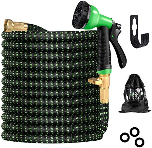 Garden Hose,50 FT Expandable Water Hose with 8 Function Nozzles & Durable Latex,Flexible Hose with Solid Brass Fittings & High Pressure Water Spray Nozzle Hoses,Hose for Garden/Car Wash
