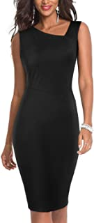 Moyabo Women`s Asymmetrical V Neck Wear to Work Business Church Pencil Dress
