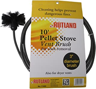 Rutland 3-Inch Pellet Stove/Dryer Vent Brush with 10-Feet Handle