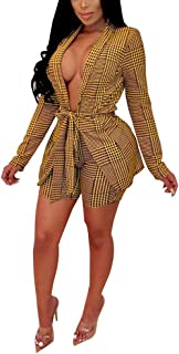 Women's Suits Two Piece Outfits - Sexy Open Front Blazer Jacket and Skinny Shorts Set
