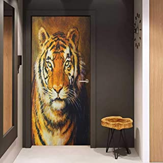 Toilet Door Sticker Tiger Oil Painting Style Big Cat Purposeful Eyes Carnivore Bengal Feline of East Glass Film for Home Office W17.1 x H78.7 Black Pale Brown