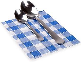 "Paper Napkins, 1 Ply Napkins, Recycled Napkins - Picnic Print - Blue - 7"" x 13.5"" - Luxnap - 7000ct Box - Restaurantware"