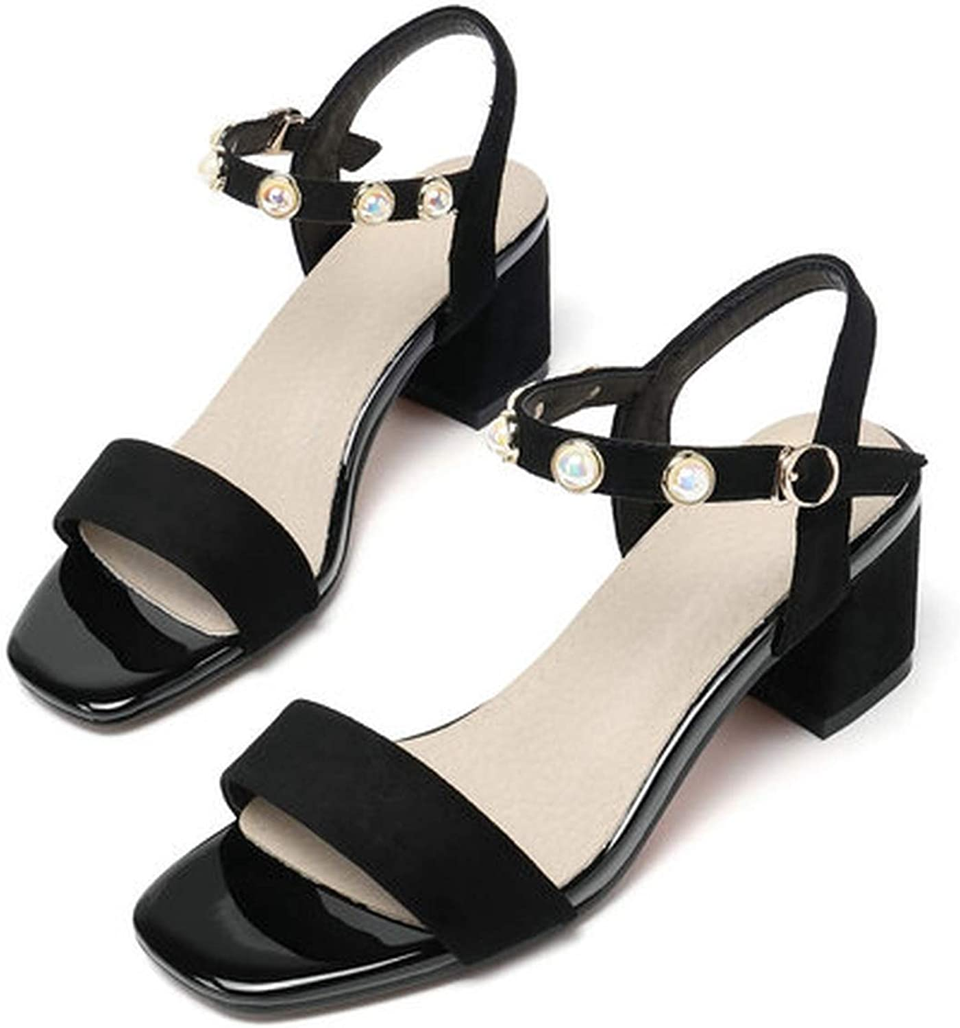 Small-Dream-Shop Sandals Square Open-Toed Buckle Bead Square High Heel Elegant Casual Anti-Skid Women Pumps 34-43