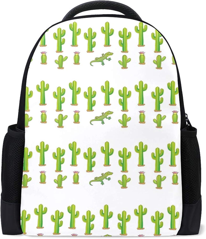 Cactus and Dinosaur Green Backpack Bookbags Waterproof Travel Daypack Bag Rucksack