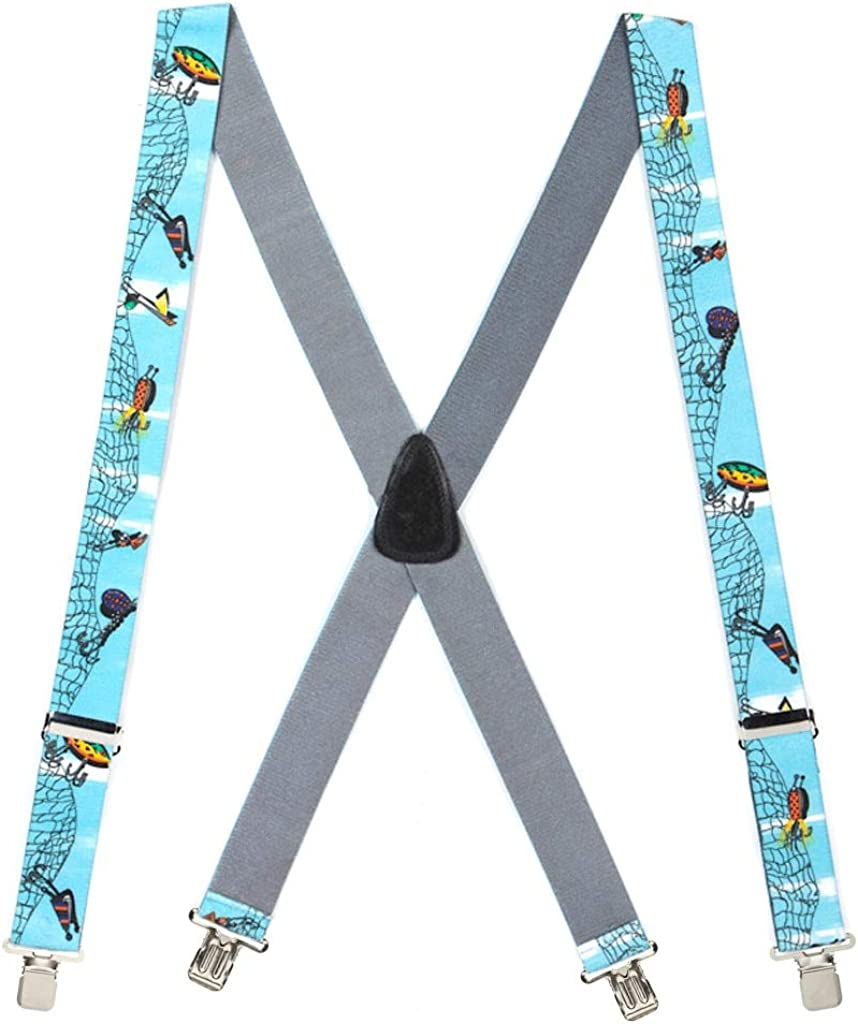 Men's Fishing Lures Suspenders 2 Inch Wide - Construction Clip