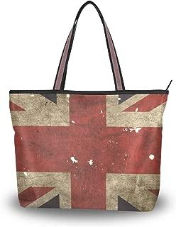 Women's French Flag Tote Handbags Shoulder Bag Purses Ladies Zippered Weekend Shopping Bag Top-Handle Bags