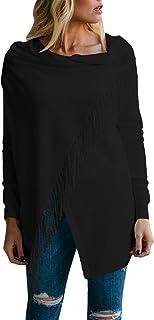 Viottiset Damen Long Pullover Cardigan Poncho mit Fransen und Asymmetrisch Schnitt Strickjacken