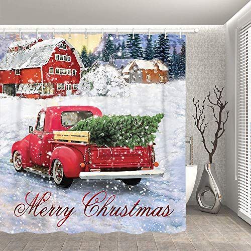 Bonsai Tree Christmas Shower Curtains, Vintage Red Truck Cloth Shower Curtains in Bath, Snowflake Holiday Bathroom Shower Curtains Rings Winter Home Decorations 72x72 Inches