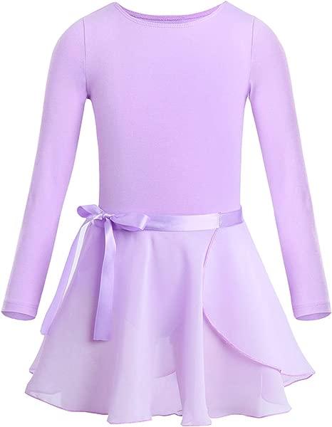 Kids Girls Long Sleeves Cotton Ballet Dance G3Tnastics Leotard Tutu Dress For Ballet Dancing Class Stage Performance Lavender 4T
