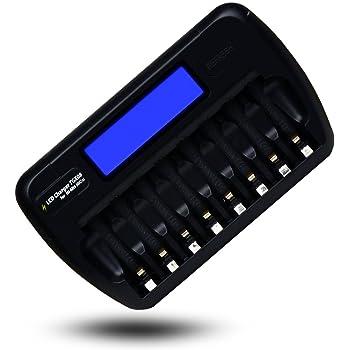 【TGXシリーズ正規品】 8本充電用 単3電池/単4電池兼用 ニッケル水素電池用充電器 TGX08 マットブラック
