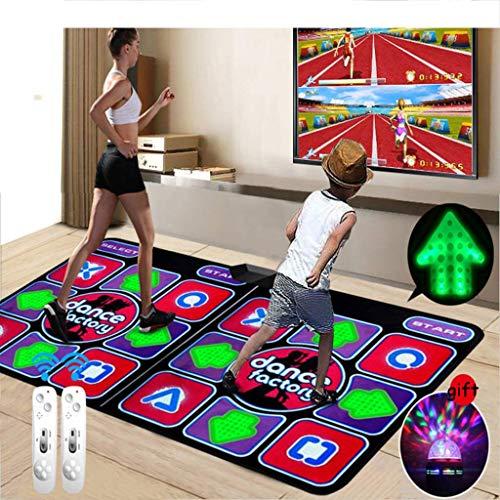 Elektronische Spielmatte Tanzmatten mit LED beleuchteter Tastatur Silikonmassage und Color Spotlight,Drahtloser Doppelgriff