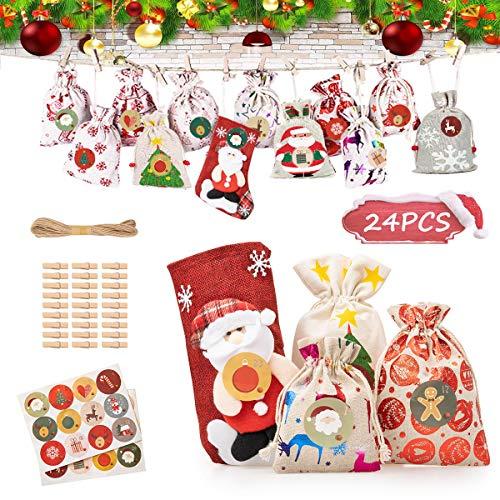 godoboo Calendario Avvento 24 Pezzi Calendario Dell'avvento Borsa Fai da Te Avvento Calendario Avvento da Riempire Natale Regalo Juta Sacchetti per Decorazioni Natalizie (4 Taglie