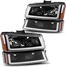 AUTOSAVER88 Compatible with 2003 2004 2005 2006 Chevy Avalanche Silverado 1500 2500 3500/2007 Chevrolet Silverado Classic Pickup Headlight Assembly Headlamp,Black Housing with Turn Signal Bumper Lamp