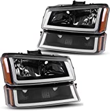 Headlight Assembly for 2003-2006 Chevy Avalanche / 2003-2007 Chevy Silverado 1500HD / 2003-2006 Chevy Silverado 2500HD Headlamp + Bumper Light,one-Year Warranty(Passenger & Driver Side)