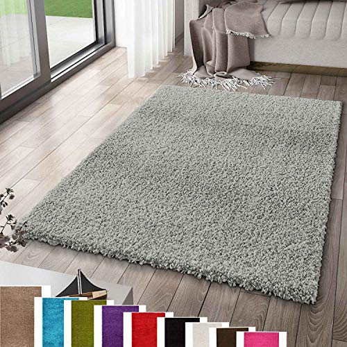 VIMODA Prime Shaggy Teppich Grau Hochflor Langflor Teppiche Modern, Maße:40x60 cm