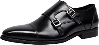 Jamron Hommes Cuir Véritable Double Sangle de Moine Chaussure Officiel Business Loafers Oxfords Mariage Dress Chaussure