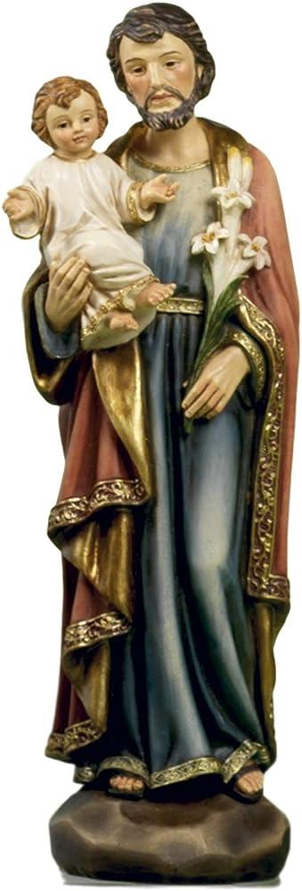 Paben articoli religiosi, statua di san giuseppe con bambino e giglio  , in resina, cm 20