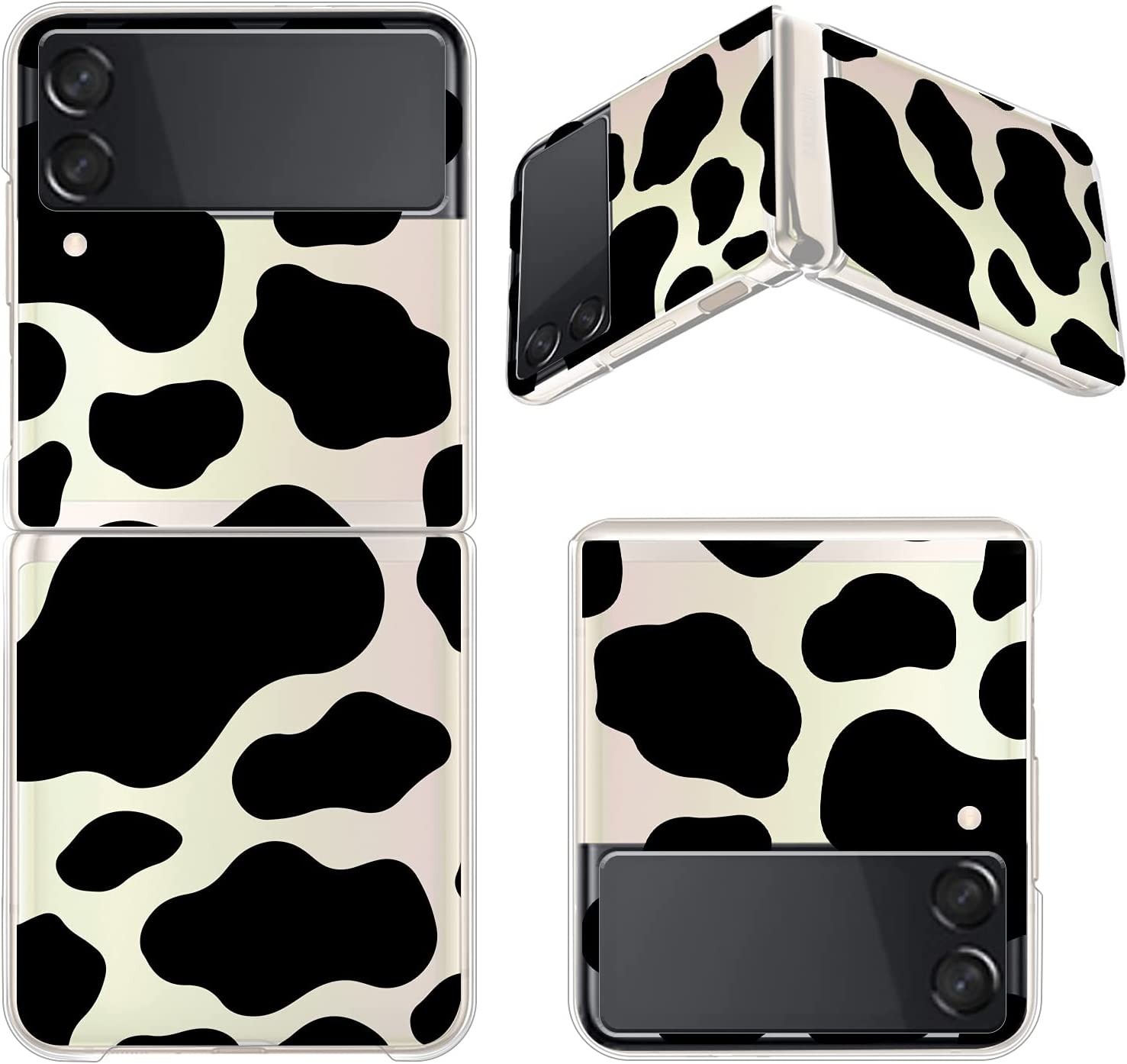 Gukalong Clear Case for Samsung Galaxy Z Flip 3 5G Full Body Shockproof Protective Hard Bumper Folding Cover Slim Thin Cow Print Animal Design Wireless Charging Case for Galaxy Z Flip 3 2021