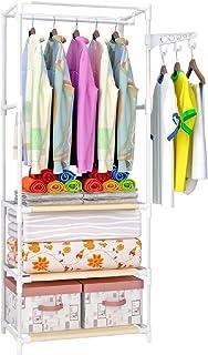 Cintre à vêtements autoportant pour chambre à coucher, étagère à linge étagère inférieure et crochets latéraux pour salle ...
