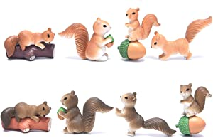 LotCow 8PCS Cute Squirrel Animal Characters Toys Figurines Playset Mini Figure Collection Playset Home Garden Cake Decoration Cupcake Topper Cake Toppers