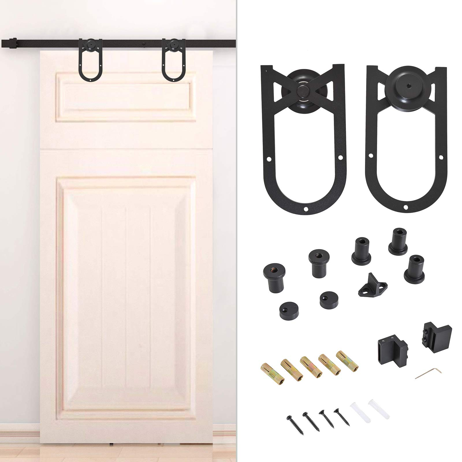Homcom - Kit de puerta corredera de acero al carbono para armario, sistema de pista para puerta de madera, estilo industrial de rueda de 200 mm: Amazon.es: Bricolaje y herramientas
