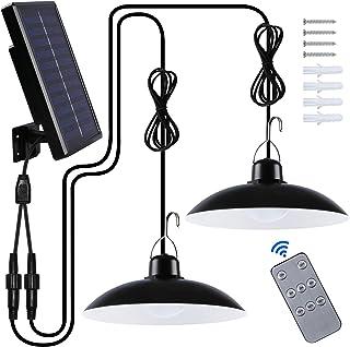 LED Lampe Solaire Extérieur, Double Tête IP65 éTanche Lumiere Solaire avec TéLé Commande pour Jardin/Cour/Camping/Garage