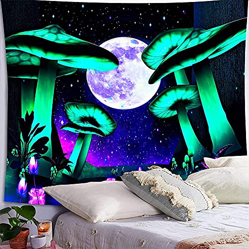 Psychedelic Mushroom Tapestry Starry Moon Trippy Room Decor Fantasy Green Plant Wall Tapestry Hippie Aesthetic Room Decor Bedroom Wall Decor (150cm x 200cm(59''x 79''))
