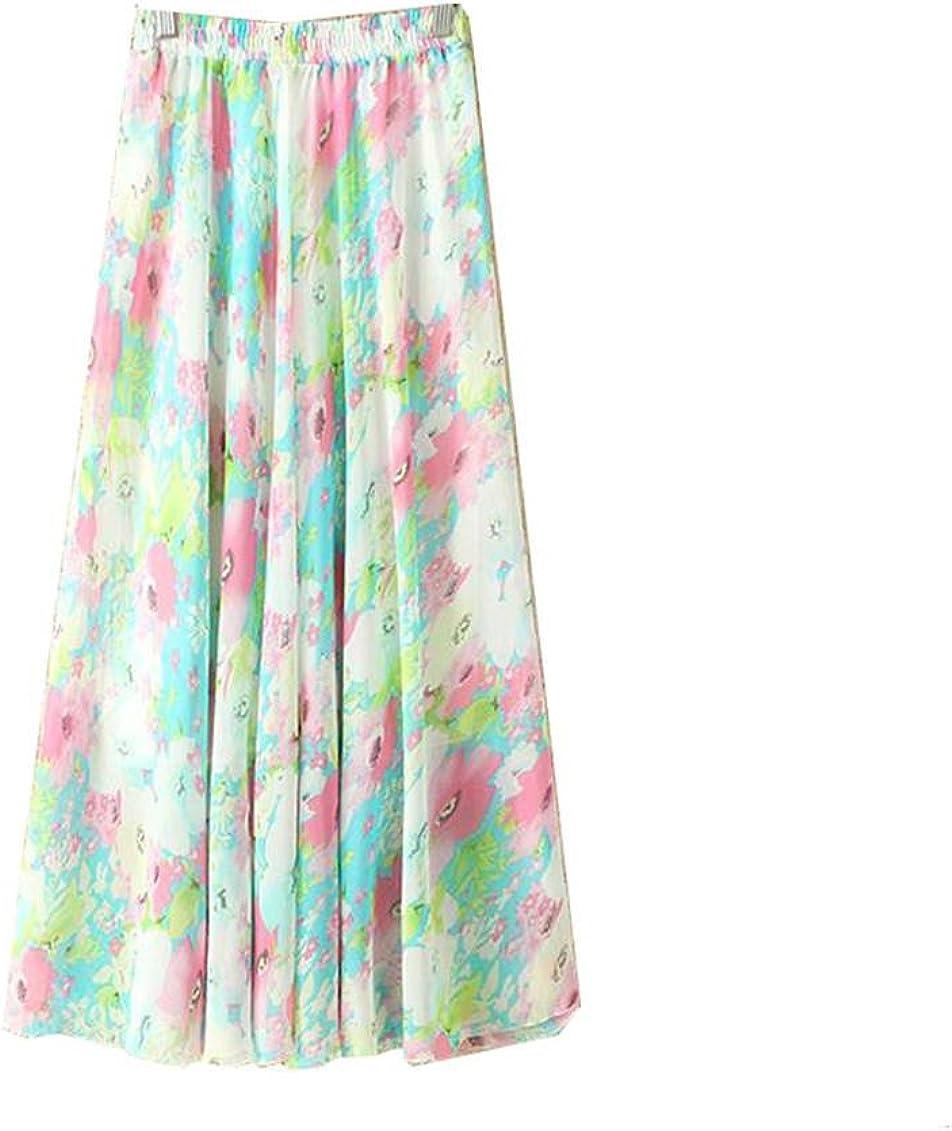 Kaxuyiiy Women's Chiffon Floral Painting Beach Elastic Waist Maxi Long Pleated Skirt