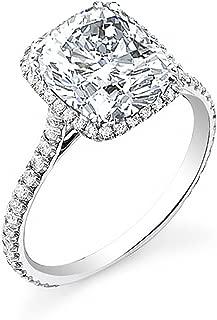 Stunning 14K Cushion Cut Pave Halo Diamond Engagement Ring - GIA Certified