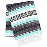 Zulay Home Authentic Mexican Blankets - Hand Woven Yoga Blanket & Outdoor Blanket - Artisanal Boho Blanket & Mexican Falsa Blanket for Beach, Picnic, Camping, or Home Throw Blanket (Aqua Blue)