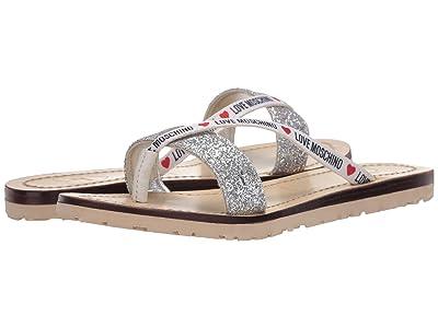 LOVE Moschino Glitter Flat Sandal (Silver) Women
