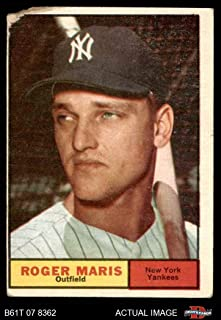 1961 Topps # 2 Roger Maris New York Yankees (Baseball Card) Dean's Cards AUTHENTIC Yankees