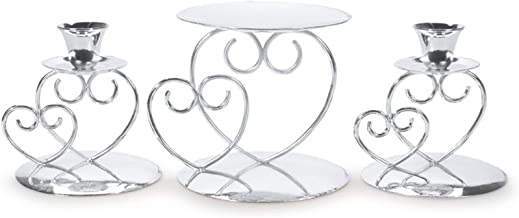 Darice f Victoria Lynn Unity 3-Piece Set – Includes 2 Taper, 1 Pillar Candle Holder – Elegant Open Combined Hearts Design – Perfect for Wedding Ceremony, Silver