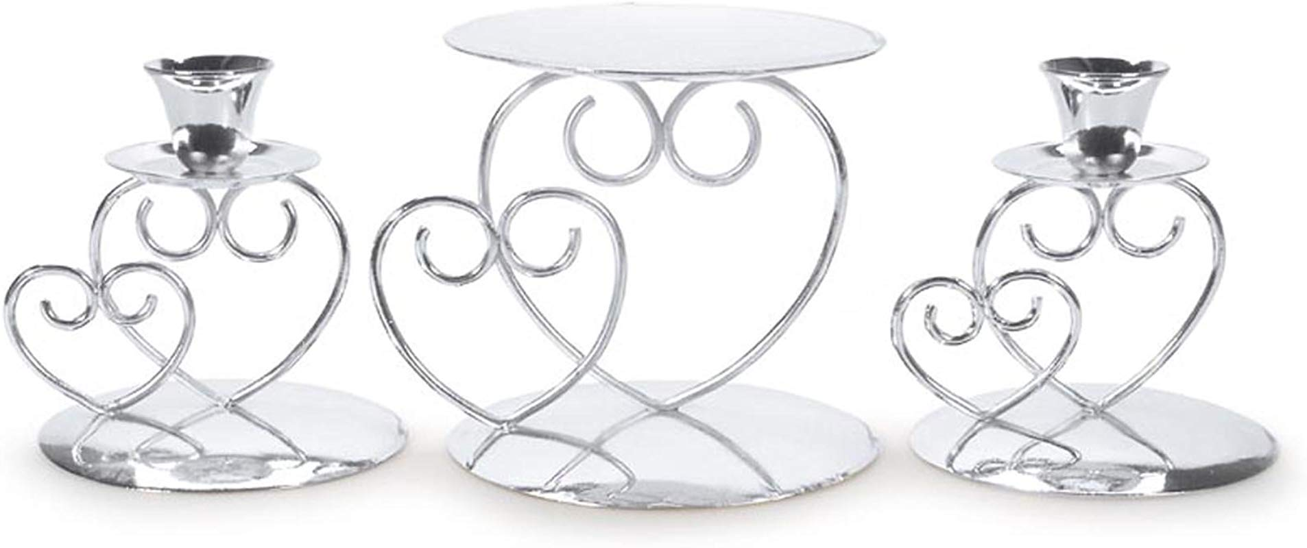 Darice F Victoria Lynn Unity 3 Piece Set Includes 2 Taper 1 Pillar Candle Holder Elegant Open Combined Hearts Design Perfect For Wedding Ceremony Silver