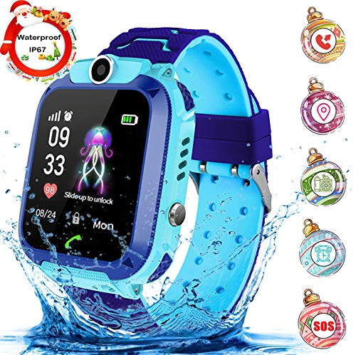 Kinder Smartwatch Waterproof Digital Watch with Games, SOS and 1.44 inch Touch LCD for Boys Girls Birthday