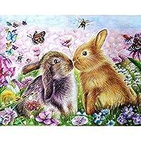 5D DIYダイヤモンド絵画動物ウサギの花ラインストーン刺繡セットダイヤモンドモザイク画像壁画モザイク絵画A4 45x60cm