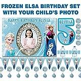BLOUR Fondo de Foto Personalizado Frozen Birthday Set, Banner, Etiquetas de Botellas de Agua, Adornos para Cupcakes, Pegatinas