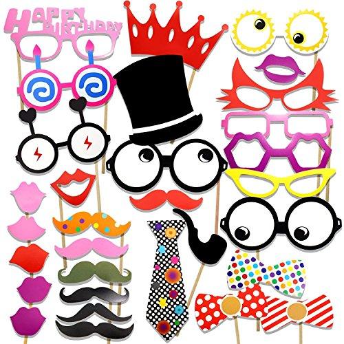 Veewon Photo Booth Bonus per la festa di compleanno Baffo, montature per occhiali, cravatte, Labbra, Corona, cappello e buon compleanno Iscriviti Kit fai da te - 31 Set