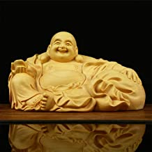 Happy Buddha Statue Boxwood for Good Luck Wealth and Happiness, Chinese Feng Shui Maitreya Statue for Home Office Car Deco...