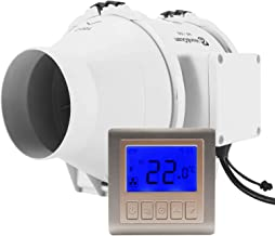 Hon&Guan pijpventilator, afvoerventilator met timer en hygrostaat, voor kamer, badkamer, keuken Ø100mm
