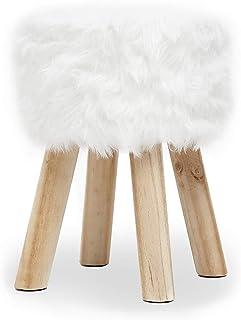 Suhu Redondo Puff Baúl Taburete Otomana Asiento Elegante imitación Piel Patas de Madera Maciza Asiento Blanco