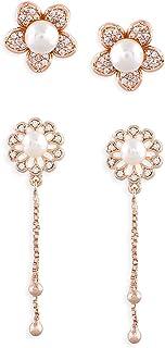 Zaveri Pearls Set of 2 Rose Gold Cubic Zirconia Brass Drop & Stud Earrings For Women-ZPFK11125