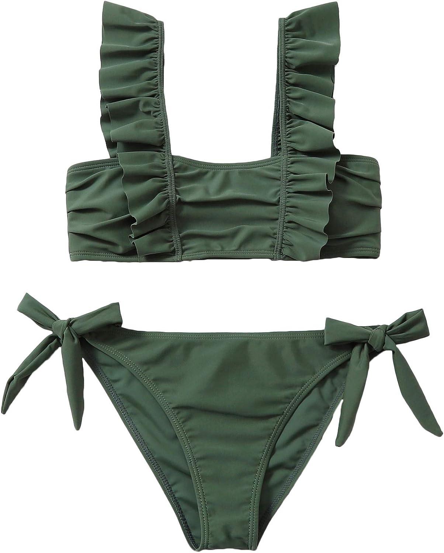 SOLY HUX Women's Ruffle Trim Tie Side Bikini Bathing Suits Two Piece Swimsuits
