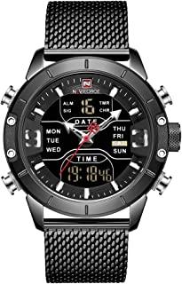 ساعة يد رقمية للرجال من نافي فورس، ساعة رياضية مقاومة للماء، ساعة كوارتز عسكرية من ستانلس ستيل